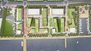An artist's rendering of the waterfront plan, from above.