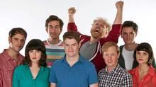The Halifax-based comedy troupe Picnicface (left to right): Andrew Bush, Evany Rosen, Mark Little, Scott Vrooman, Brian Eldon Macquarrie, Bill Wood, Kyle Dooley and Cheryl Hann (Scott Munn/CP)