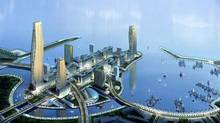 A detail from a rendering of the King Abdullah Economic City, on the Red Sea. It is one of six new cities planned by Saudi Arabia as it works to diversify its economy beyond oil exports. Saudi Arabia is betting heavily that this oil-rich kingdom can transform itself into an industrial powerhouse through a $500 billion investment program to foster new industries. (EMAAR DEVELOPMENT/NYT)