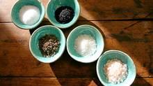 Different varieties of salt.