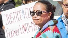 Debbie Baptiste, mother of Colten Boushie, looks on during a rally outside court in North Battleford, Sask., in August. (Liam Richards/THE CANADIAN PRESS)