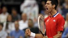 Novak Djokovic of Serbia celebrates a point won against Milos Raonic of Canada during their Davis Cup semifinal match in Belgrade, Serbia, Sunday, Sept. 15, 2013. (Darko Vojinovic/AP)