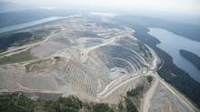 A aerial view shows the Mount Polley mine near the town of Likely, B.C., on Tuesday, August, 5, 2014. The pond which stores toxic waste from the Mount PolleyMine had its dam break on Monday spilling its contents into the Hazeltine Creek causing a wide water-use ban in the area. (Jonathan Hayward/The Canadian Press)