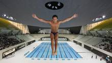 In this Wednesday, July 27, 2011 file photo, British Olympic diver Tom Daley performs a dive into the new aquatic centre dive pool at the one year to go ceremony in London. Tom Daley is a potential leading candidate to light the cauldron for the London 2012 Olympics. (Kirsty Wigglesworth/The Associated Press)
