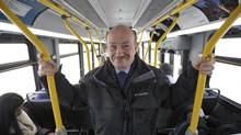 Mississauga Transit director Geoff Marinoff rides on an express bus in Mississauga along the newly opened Bus Rapid Transitway in Mississauga, November 20, 2014. (J.P. MOCZULSKI/THE GLOBE AND MAIL)