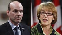 New Democrat Nathan Cullen and Liberal Joyce Murray: Compared to the right's slow tortoise crawl to uniting, progressives are showing a hare-like hop. (Reuters)
