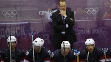 Team USA head coach Dan Bylsma reacts during the third period of their men's ice hockey bronze medal game against Finland at the Sochi 2014 Winter Olympic Games February 22, 2014. (GRIGORY DUKOR/REUTERS)