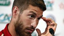Spain's Sergio Ramos attends a press conference at the Stade de France in Saint Denis, outside Paris, Wednesday, Sept. 3, 2014. (Christophe Ena/AP)