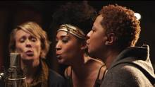 Jo Lawry, Judith Hill and Lisa Fischer at the mike for a rendition of Lean on Me in the film 20 Feet from Stardom.