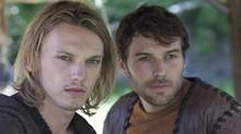 Jamie Campbell Bower stars as King Arthur and Peter Mooney plays as Kay in Camelot on CBC. (Jonathan Hession/Starz Original)