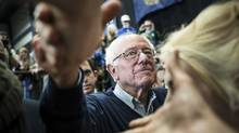 Senator Bernie Sanders of Vermont greets supporters in Portsmouth, N.H. (TODD HEISLER/the new york times)