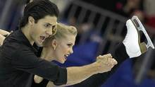 Canadian ice dancers Kaitlyn Weaver and Andrew Poje perform during a training ice dance session at the 2012 World Figure skating Championships in Nice, southern France, Monday, March 26, 2012. (AP Photo/Lionel Cironneau) (Lionel Cironneau/AP)