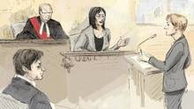 In this courtroom sketch, witness Lucy DeCoutere, second from right, is questioned by Crown attorney Corie Langdon, in court in Toronto on Feb. 4. (Alexandra Newbould/THE CANADIAN PRESS)
