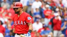 Rougned Odor #12 of the Texas Rangers reacts after striking out against the Toronto Blue Jays in the ninth inning of game two of the American League Divison Series at Globe Life Park in Arlington on October 7, 2016 in Arlington, Texas. (Scott Halleran/Getty Images)