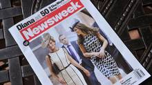 Newsweek magazine July 4 edition featuring a cover photo that shows a computer-generated image of Princess Diana walking with Kate Middleton to depict what Diana might have looked like on her 50th birthday on July 1, 2011. (KAREN BLEIER/AFP/Getty Images)