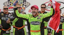 James Hinchcliffe celebrates his IndyCar victory in Newton, Iowa on June 23. Hinchcliffe would love to repeat this performance in Toronto. (Justin Hayworth/AP)