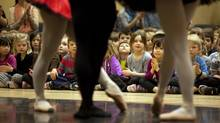 Ballet Kelowna is in deep financial trouble and will be closing its doors. Dancers Desiree Bortolussi, left, Eric Hall and Clare Bassett performed the Paquita Pas de Trois during a noon-hour performance at Chute Lake Elementary School in Kelowna, B.C. on March 7, 2013. (Jeff Bassett For The Globe and Mail)