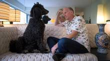 Author and former CBC radio host Bill Richardson has an adoring friend in his 10-year-old standard poodle, Esther. (DARRYL DYCK FOR THE GLOBE AND MAIL)