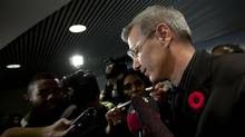 Toronto Councillor Adam Vaughan talks to reporters at City Hall on Nov. 5, 2013, after Mayor Rob Ford's press conference where he addressed his earlier admission to have smoked crack cocaine. (MOE DOIRON/THE GLOBE AND MAIL)