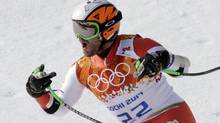 Canada's Jan Hudec reacts after finishing the men's super-G at the Sochi 2014 Winter Olympics, Sunday, Feb. 16, 2014, in Krasnaya Polyana, Russia. (Lee Jin-man/Associated Press)
