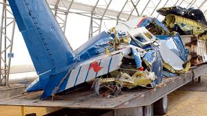 The wreckage of the Georgian Express Flight 126 Cessna Caravan 208 at a holding facility in Tecumseh, Ont., Feb.1, 2004.