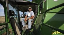 Farmer Brian Chorney sits in his combine before harvesting his canola fields in East Selkirk, Man. on Aug. 26, 2016. (Lyle Stafford for The Globe and Mail)