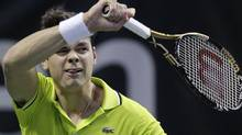 Milos Raonic, of Canada, returns a shot to Tobias Kamke, of Germany, in the SAP Open tennis tournament in San Jose, Calif., Wednesday, Feb. 15, 2012. (AP Photo/Paul Sakuma) (Paul Sakuma/AP)