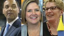 With polls showing the race deadlocked, the leaders of Ontario's Big 3 parties – PC Tim Hudak, the NDP's Andrea Horwath and Liberal Kathleen Wynne – refused to let up on the last day of campaigning before today's election.