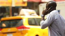 A man speaks on his mobile phone in New York on May 31, 2011. (Spencer Platt/Getty Images/Spencer Platt/Getty Images)