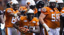 B.C. Lions players celebrate a TD against the Ottawa RedBlacks last month at Vancouver's BC Place, site of this year's Grey Cup. (DARRYL DYCK/The Canadian Press)