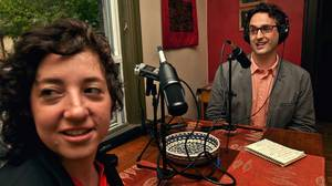 JP Davidson and his collaborator Elah Feder broadcast their podcast, I Like You, out of Elah's Toronto home. They are photographed at the kitchen table where they often conduct interviews on May 16, 2012.