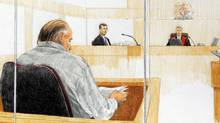 An artist's sketch shows RCMP Inspector Don Adam , second left, being questioned as Judge James Williams listens, along with accused serial killer Robert Pickton during court proceedings in January, 2007. (Jane Wolsak/ The Canadian Press/Jane Wolsak/ The Canadian Press)