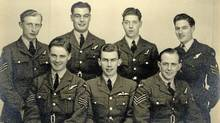 Pilot Don Cheney (bottom row, center) with the crew of his Lancaster before their ill-fated 1944 mission to bomb Nazi submarine pens on the coast of occupied France. Top row, left to right: Radio Operator Reg Pool, Flight Engineer Jim Rosher, Rear Gunner Noel Wait, Mid Upper Gunner Mac McRostie. Bottom row: Navigator Roy Welch, Pilot Don Cheney, Bomb Aimer Len Curtis. Only four members of the Lancaster's crew survived after the plane was downed by German anti-aircraft fire: Pool, Wait and Welch parachuted from the Lancaster, but died of their injuries. All three were buried in France.