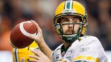 Edmonton Eskimos' quarterback Ricky Ray passes against the B.C. Lions during the first half of the CFL Western Final in Vancouver on Nov. 20, 2011. (Darryl Dyck/The Canadian Press/Darryl Dyck/The Canadian Press)