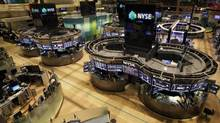 The New York Stock Exchange was empty of traders on Monday and Tuesday, but is to reopen on Wednesday. (Richard Drew/AP)