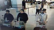 A picture released on March 22, 2016 by the Belgian federal police on demand of the Federal prosecutor shows a screengrab of the airport CCTV camera showing suspects of this morning's attacks at Brussels Airport, in Zaventem. (AFP PHOTO / BELGIAN FEDERAL POLICE)