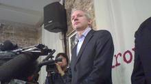 Julian Assange speaks to reporters in London Monday, Jan. 17, 2011 where it was announced he had obtained documents pertaining to the banking information of the world's richest hedge fund managers, corporations and wealthy individuals. (Caroline Byrne/Caroline Byrne)