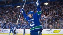 Vancouver Canucks' Jannik Hansen celebrates his goal against the Philadelphia Flyers during the second period in Vancouver on Feb. 19, 2017. (DARRYL DYCK/THE CANADIAN PRESS)