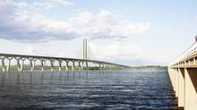 The design for the proposed crossing to replace the Champlain Bridge is shown in an artist's rendering. (Alexis Fortin Robitaille/The Canadian Press)