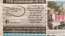 This is the advertisement from Tumbledown Trails that appeared in the Wisconsin State Journal on Sept. 9, 2013. The owner of the Tumbledown Trails golf course near Madison, Wis., apologized Tuesday for the ad. (AP)