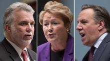 Liberal Leader Philippe Couillard, Premier Pauline Marois and Coalition Avenir Québec Leader François Legault. (JACQUES BOISSINOT/THE CANADIAN PRESS)