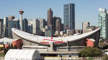 Last summer, the Calgary Flames unveiled an ambitious $890-million plan to redevelop the west side of the city's downtown and replace the aging Scotiabank Saddledome. (Chris Bolin for The Globe and Mail)
