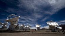 The 66-dish Atacama Large Millimeter/Submillimeter Array, located in Chile, is the world's most sensitive radio observatory. The site is now part of an effort to view a black hole for the first time. (MARTIN BERNETTI/AFP/Getty Images)