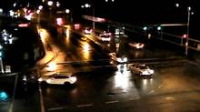 The white car at left is the suspect vehicle in the hit-and-run that injured two joggers. (RCMP)