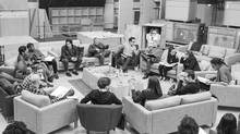 Writer/director/producer J.J Abrams (top center right) at the cast read-through of Star Wars Episode VII at Pinewood Studios with (clockwise from right) Harrison Ford, Daisy Ridley, Carrie Fisher, Peter Mayhew, producer Bryan Burk, Lucasfilm president and producer Kathleen Kennedy, Domhnall Gleeson, Anthony Daniels, Mark Hamill, Andy Serkis, Oscar Isaac, John Boyega, Adam Driver and writer Lawrence Kasdan. (David James)