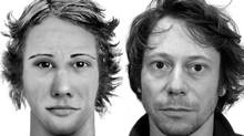 Artist Leandro Berra used facial identification software to create portraits in which friends reproduced their own features from standardized components without photos or a mirror. The subject of this 'robotic self-portrait,' on view at Atelier Circulaire, is French actor Mathieu Amalric. (Leandro Berra)