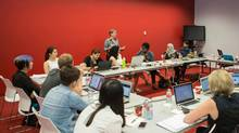 Jutta Treviranus, director of OCAD University's Inclusive Design Research Centre, speaks to a classroom of inclusive design students with diverse backgrounds and life experiences. (Songfeng Koni Xie)