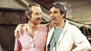 Mike Farrell, left, and Alan Alda starred in the hit TV sitcom M.A.S.H., which ran from 1972 to 1983.