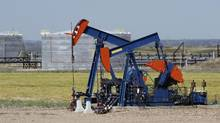 'It's a short-sighted view of the industry. It takes a lot of capital, that you put at risk, to develop new plays,' said Brian Schmidt, chief executive of Tamarack Valley Energy, whose pumpjacks are seen working on oil wells in Alberta in 2016. (Larry MacDougal/The Canadian Press)