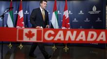 Foreign Affairs Minister John Baird leaves a news conference in Ottawa on May 28. (FRED CHARTRAND/THE CANADIAN PRESS)